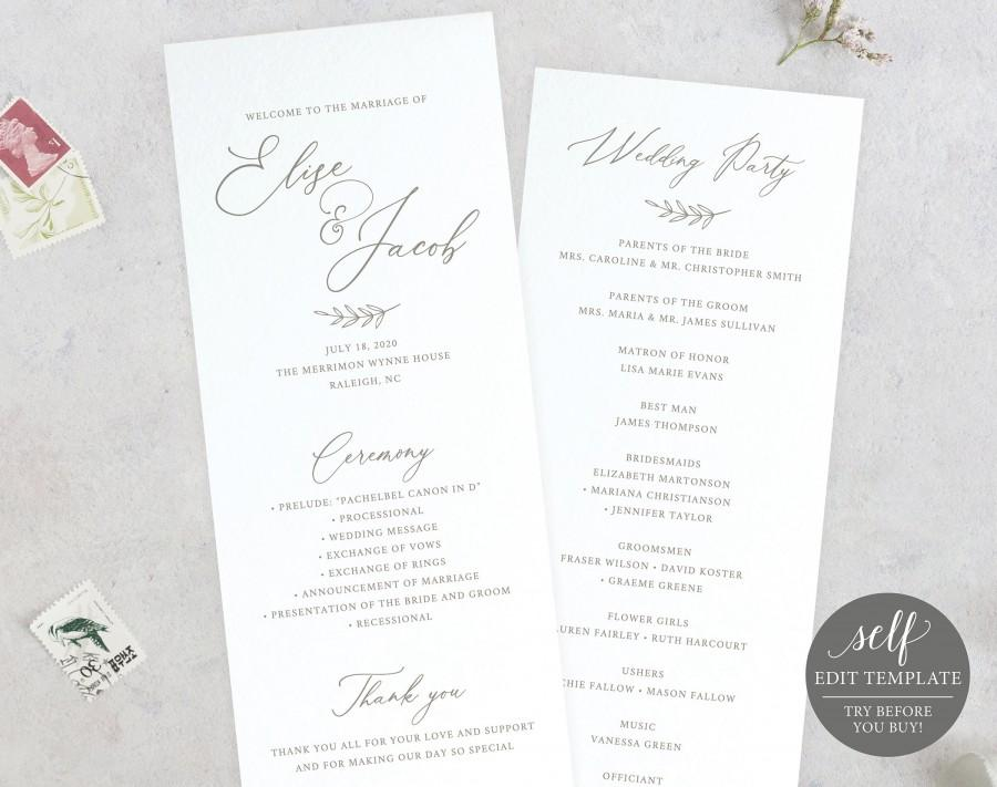Wedding - Wedding Program Template, 100% Editable, Instant Download, Ceremony Program Printable, Order of Service, Calligraphy, TRY BEFORE You BUY