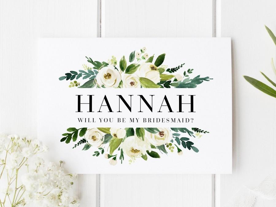 Wedding - Personalised Bridesmaid Card, Will You Be My Bridesmaid Card, Classic Bridesmaid Proposal, Bridesmaid Proposal Card, Floral Bridesmaid Card