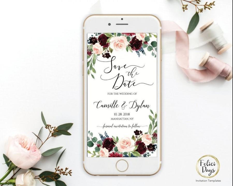 Wedding - Save the Date Burgundy Floral Template, Electronic Smartphone Digital Editable Invitation Rustic Invitation, IPhone SMS TEMPLETT BW309