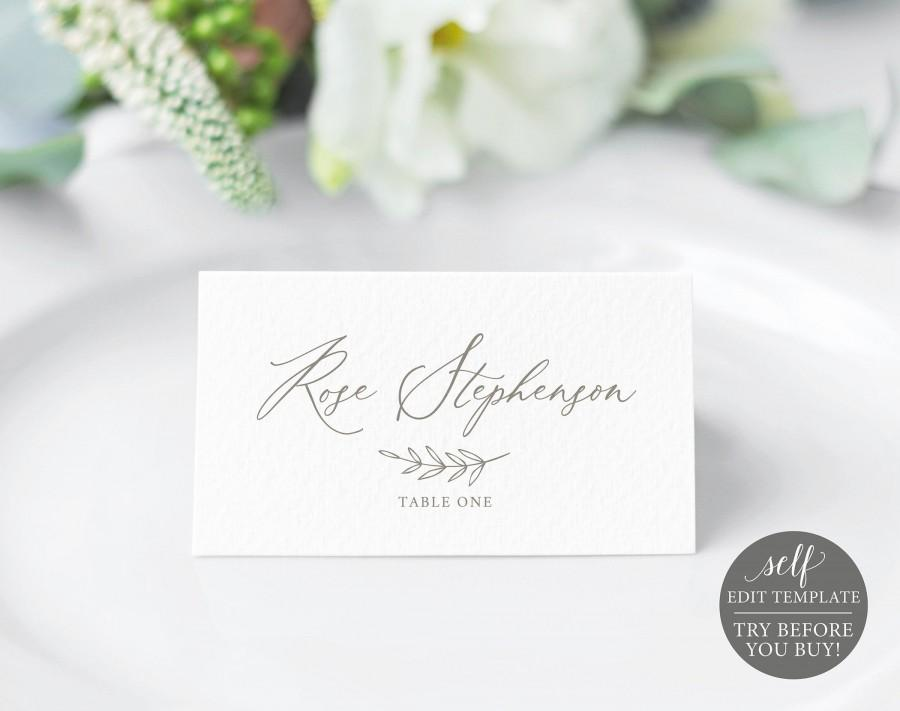 Wedding - Place Cards Template, 100% Editable Instant Download, Elegant Script, Folded, TRY Before You BUY