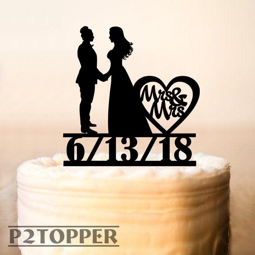 Wedding - Lesbian Cake Topper with date,Lesbian Wedding Cake Topper,Same Sex + DATE Cake Topper,Mrs and Mrs Cake Topper,Wood Cake Topper,Lesbian 0282