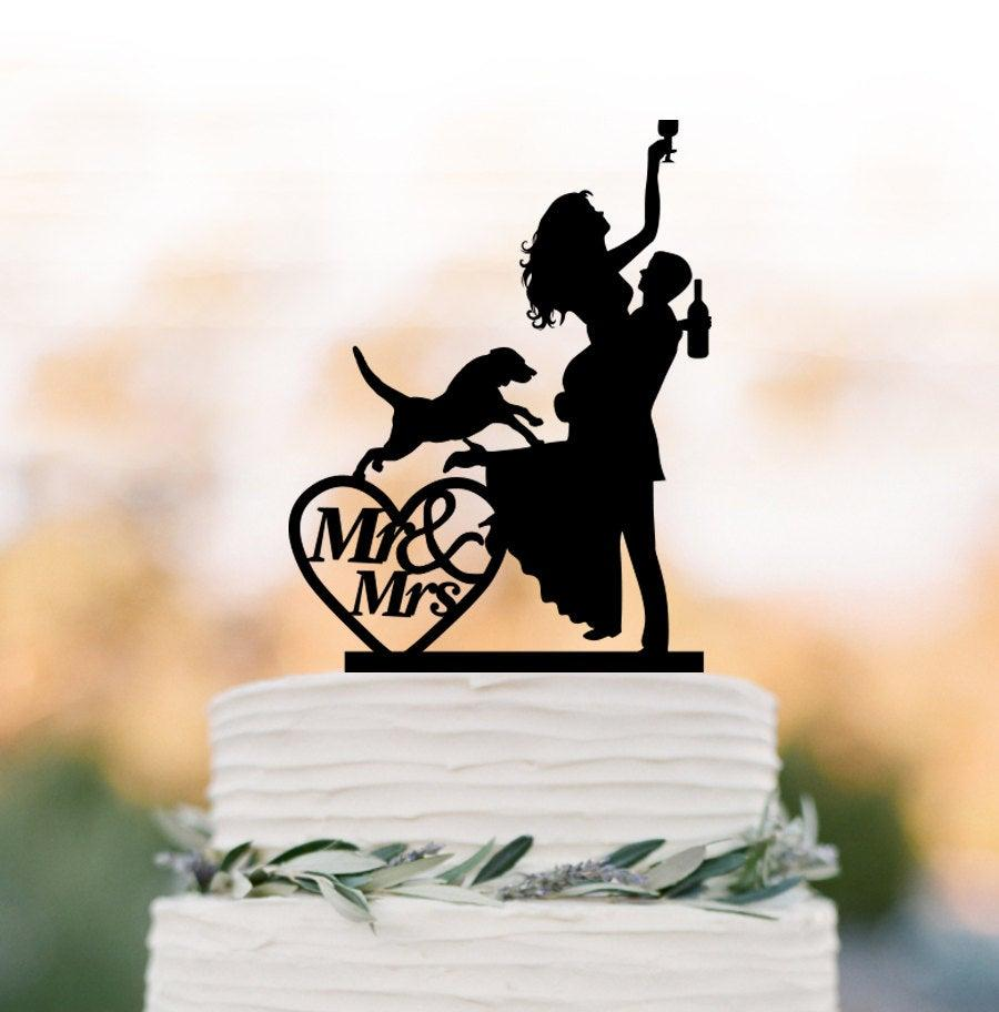Wedding - Drunk Bride Wedding Cake topper with dog, bride and groom silhouette, mr and mrs in heart, funny people figurine cake decor