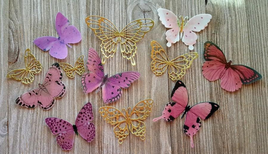 Wedding - Blushing Pink and Shimmering Gold Edible Butterflies Cakes-Cupcake Toppers; Set of 12