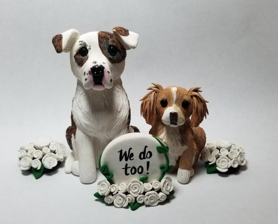 Wedding - 2 Custom Dog Cake Topper with Sign, Flowers, and Bouquets