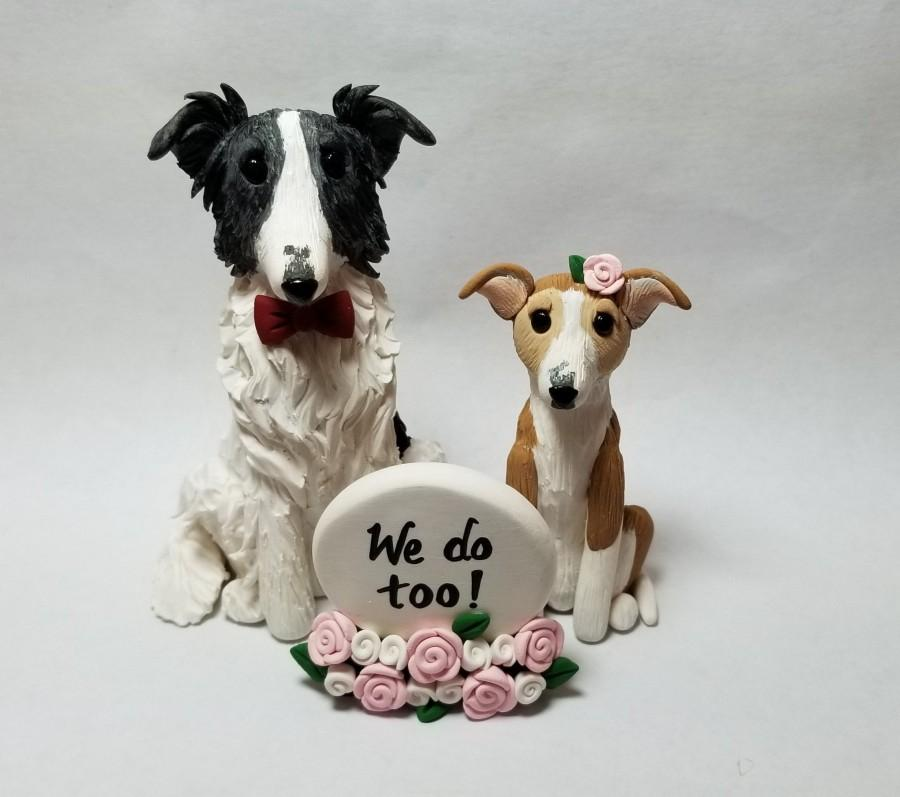 Wedding - 2 Custom Dog Cake Topper and Sign with Flowers