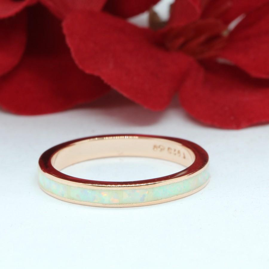 Wedding - 3mm Band Full Eternity Ring Created White Opal Rose Gold Solid 925 Sterling Silver Wedding Band, Opal Band