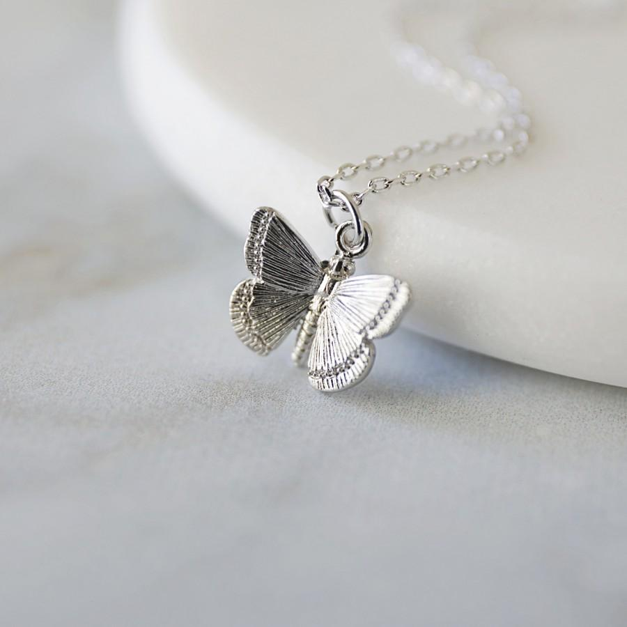 Wedding - Dainty Silver Butterfly Pendant Necklace, Butterfly Necklace, Bridesmaid Gift, Birthday Gift, Minimalist Necklace, Birthday Gift -JU6