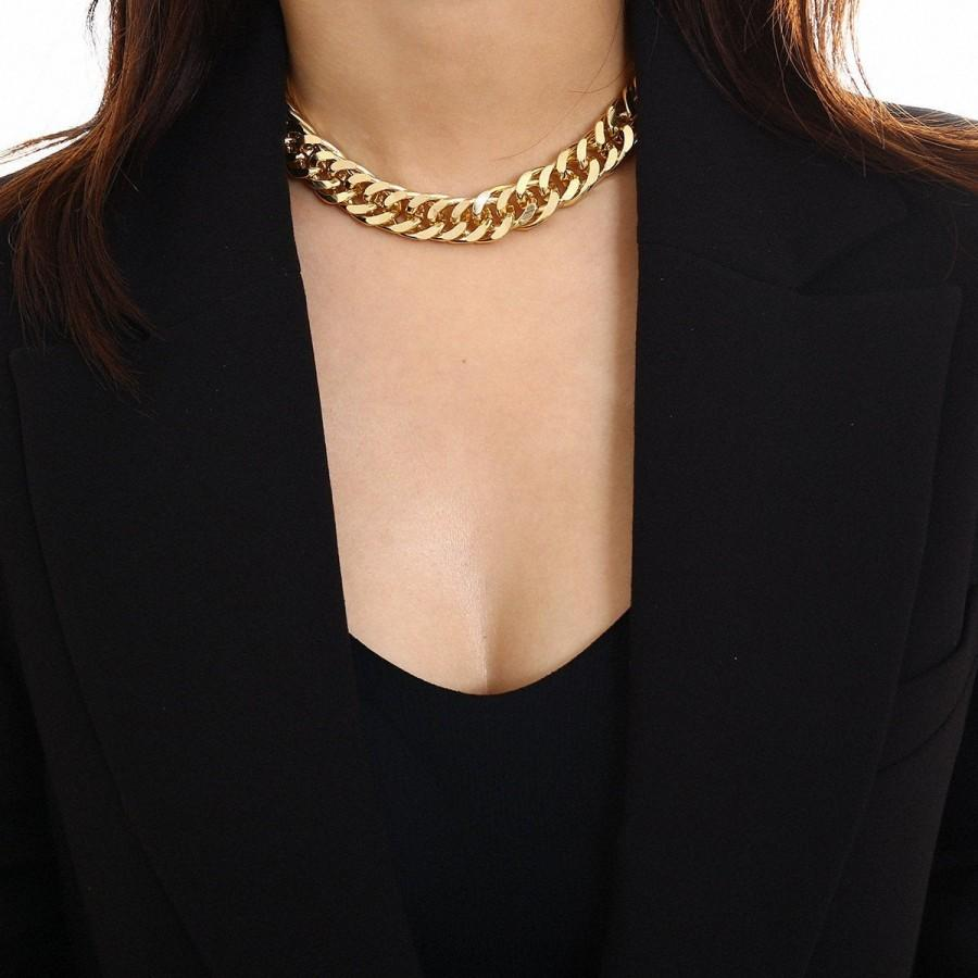 Wedding - Gold Silver Tone Costume Chunky Chain Choker Necklace