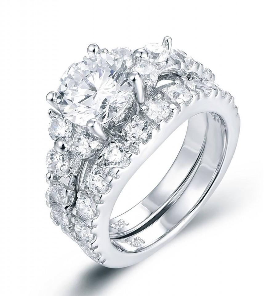 Wedding - 925 Sterling Silver Diamond Simulant CZ Engagement Ring Wedding Band Bridal Wedding Rings Set For Half Sizes Women Size 2.5-15 SS763