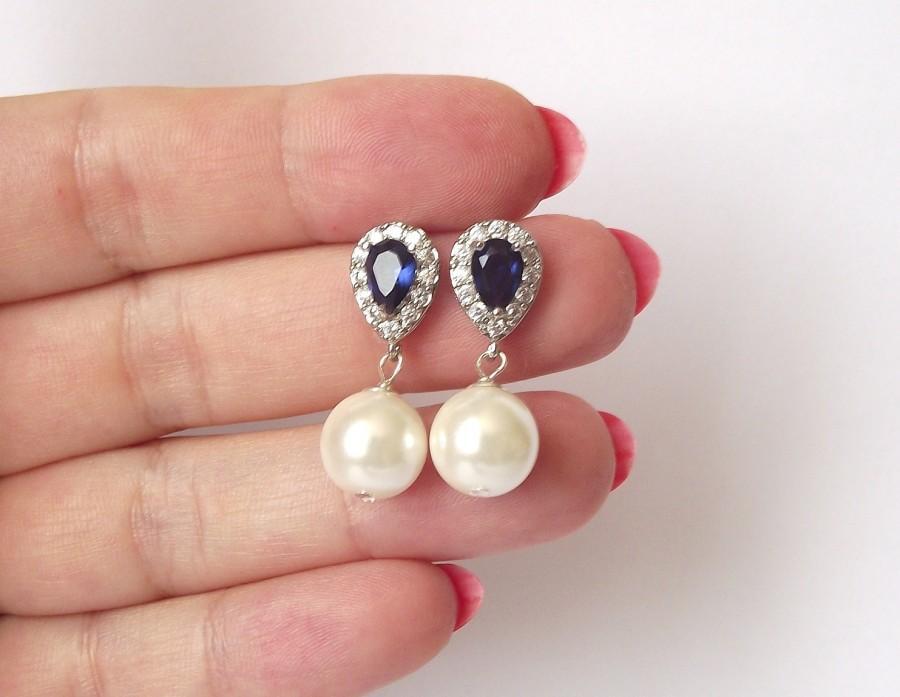 Wedding - royal blue sapphire bridal earrings, pearl wedding earrings, saphire & pearl earrings, bridesmaid pearl drop earrings, blue wedding earrings