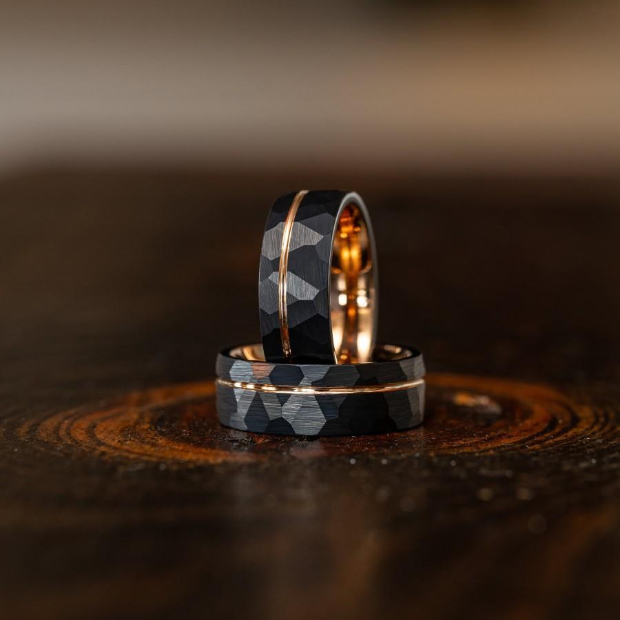 Wedding - Black Hammered wedding Ring, Hammered Brushed Tungsten Carbide Band, Rose gold strip, Mens Ring, 8mm Tungsten, Wedding Band, Brushed Ring