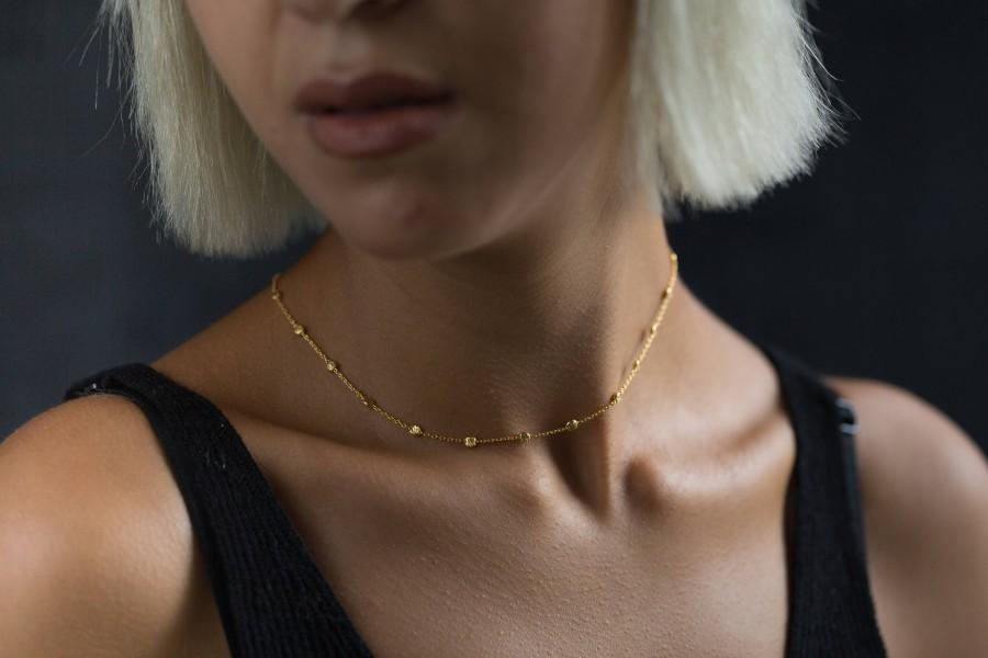 Wedding - Gold Chain Choker Necklace -Delicate Chain Necklace - Satellite Necklace -  Dainty Gold Chain Choker - Simple Gold Choker -  Beaded Necklace