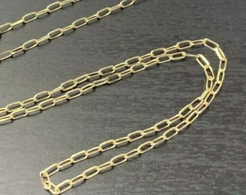 "Wedding - Solid 14K Yellow Gold 1.6x3.7mm Paper Clip Link Chain Necklace 18""  16"" 15""  Paperclip"