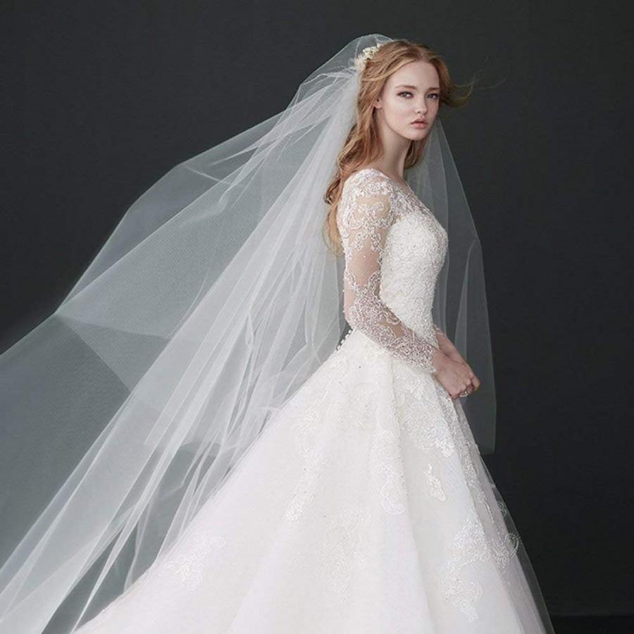 Wedding - Drop veil, Meghan Markle inspired veil **108 in. wide** white to ivory, blush, cut edge, glimmer, two tier with comb