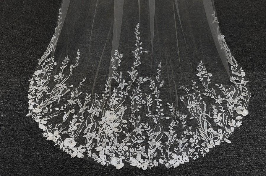 Wedding - LS94/leaf & flower lace veil/ 1 tier veil/ chapel veil/ customveil