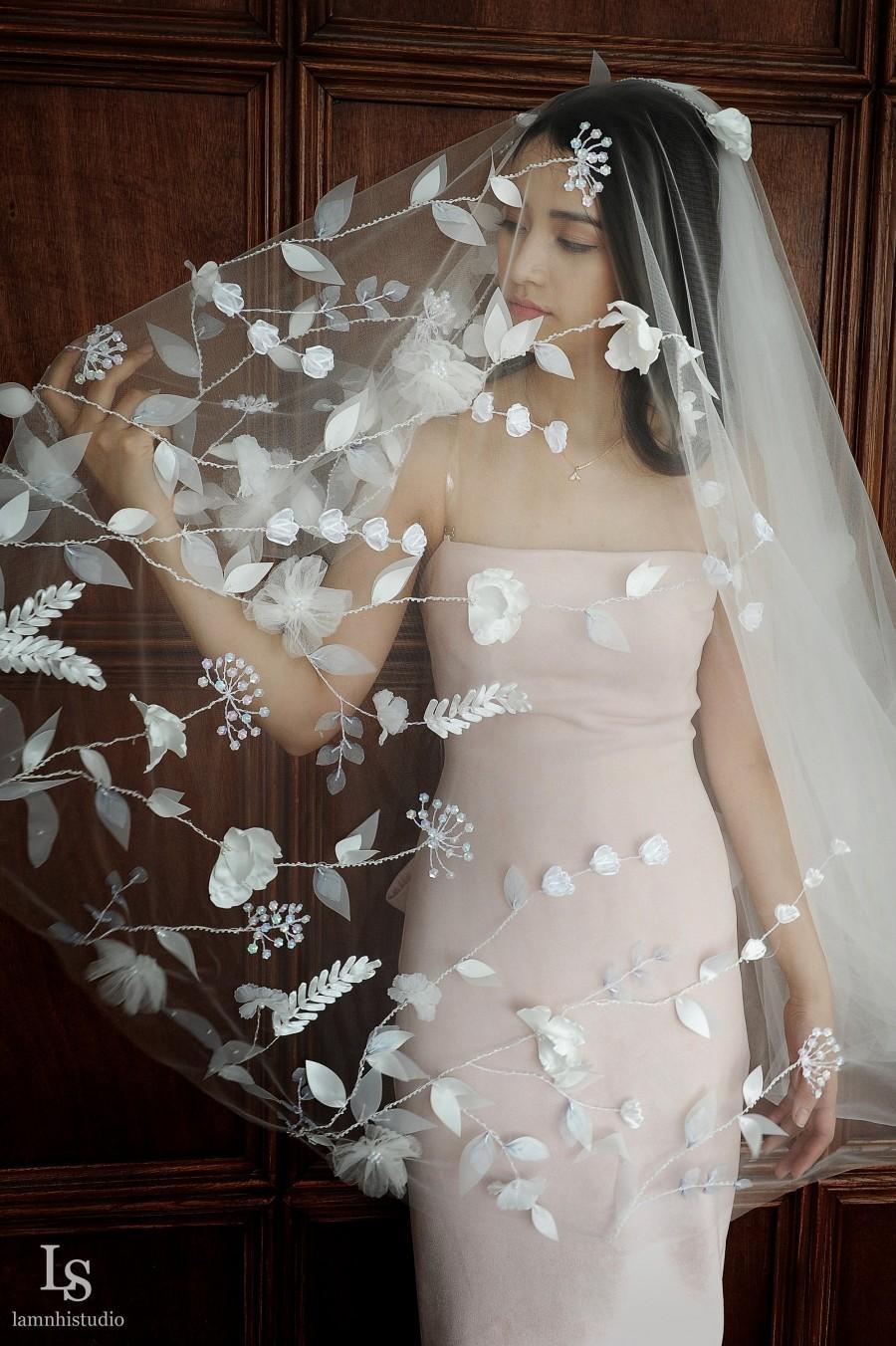 Wedding - Ls69/ 3D flower veil / chapel veil/ 1 tier veil/ custom veil