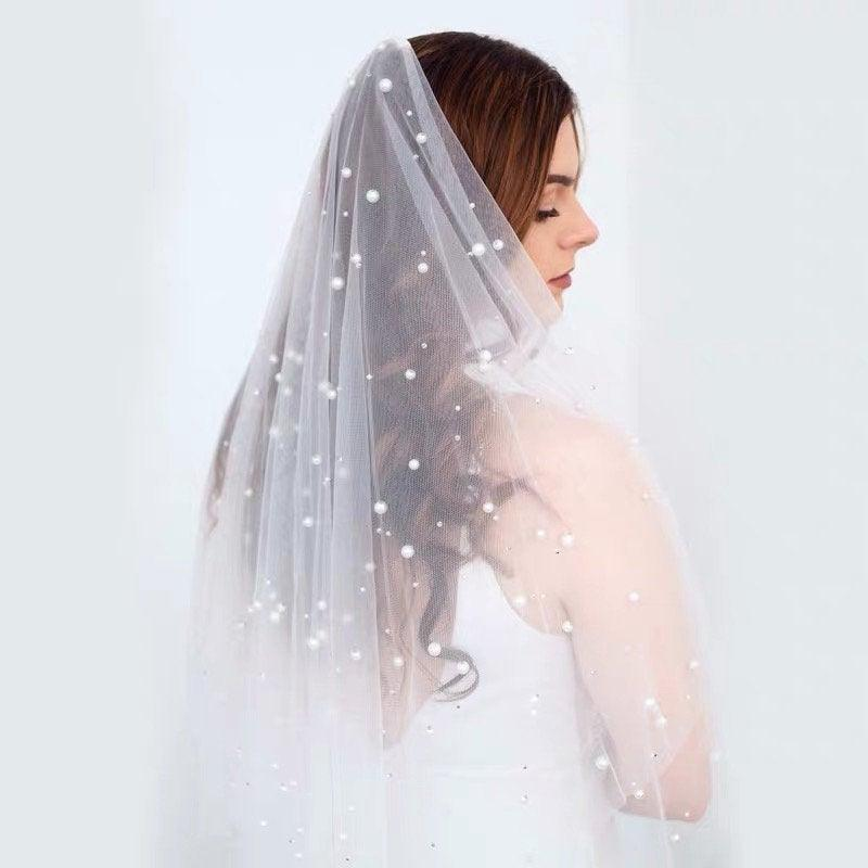 Wedding - Pearl Drop Veil, Pearl Wedding Veil, Ivory Veil, Bridal Veil