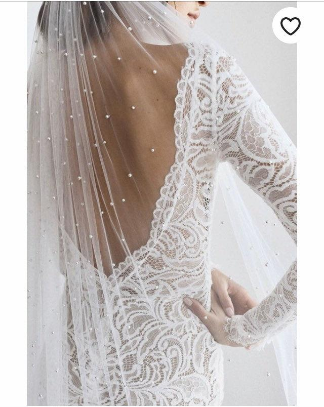 Wedding - Amelia Veil with pearl detail (veil with pearls, cape veil, wedding veil, bridal accessories)