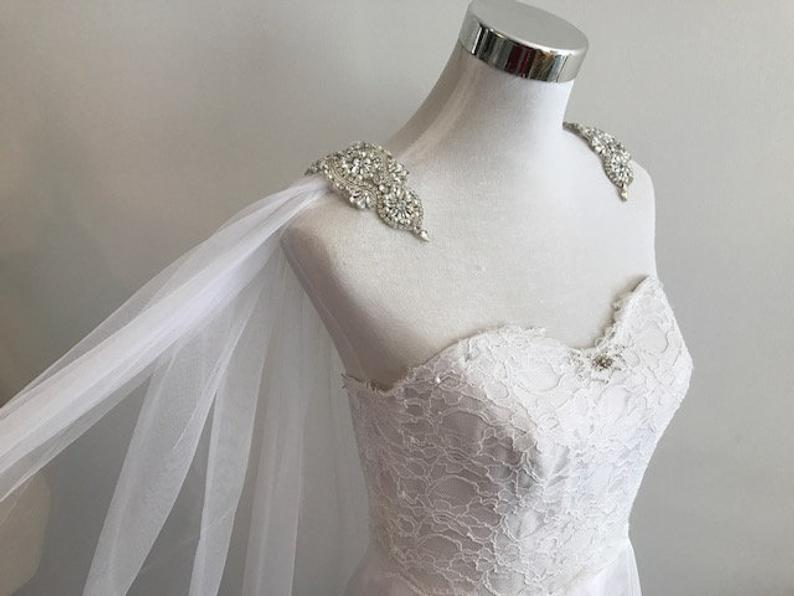 Mariage - Cape Veil Rhinestone Appliques on Shoulders Long, Bridal Shoulder Veil In White, Ivory