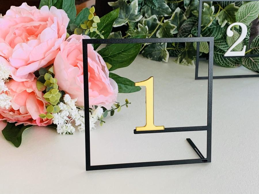Hochzeit - Wedding Table Numbers Metal Modern Table Centerpieces Reception Decor Wedding Signs Geometric Square Personalized Freestanding Number Holder