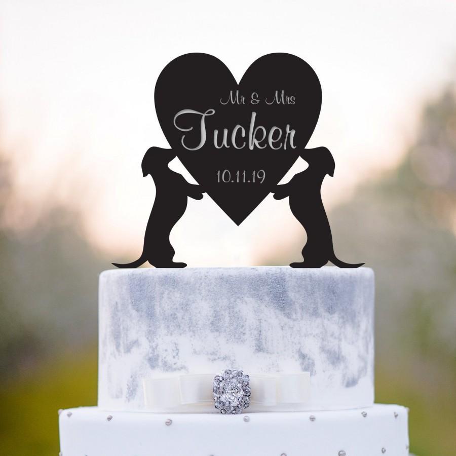 Hochzeit - Dachshund cake topper,surname cake topper,mr n mrs cake topper,Wedding cake topper with dog,Dog cake topper,cake topper date,Dachshund,a86