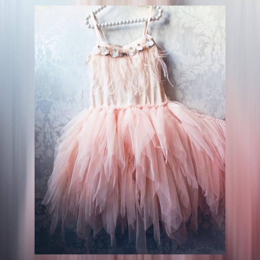 Wedding - Baby girl Pink dress,  flower girl dress,  toddler ,little girl dress,tulle and feathers  dress,1ers birthday party dress