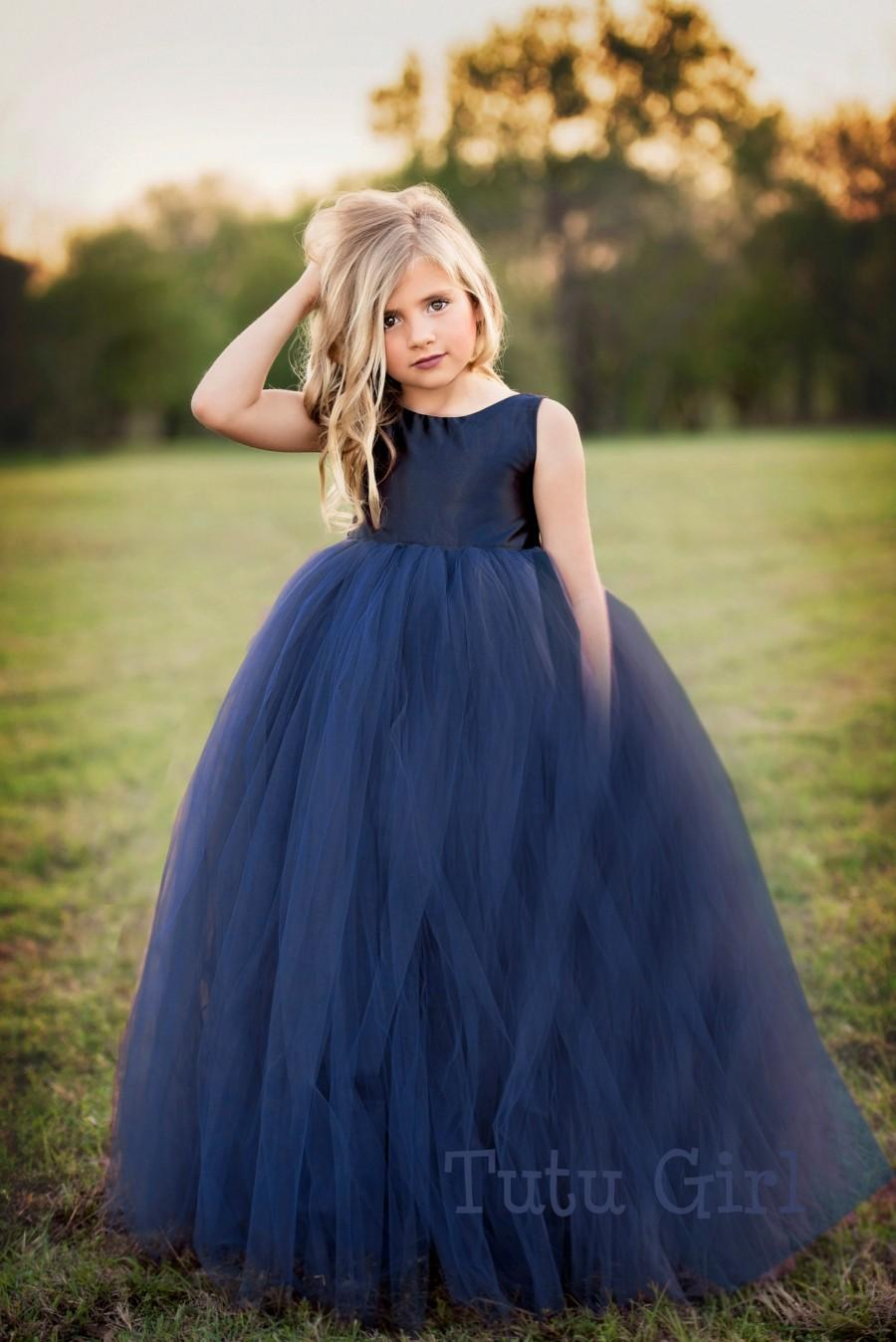 Wedding - Navy Flower Girl Dress Navy Tutu Dress Navy Tulle Dress Flower Girl Wedding - All Colors, All Sizes!