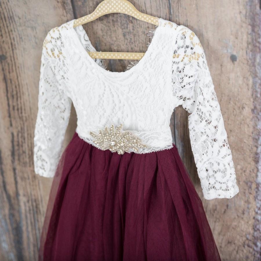 Wedding - White Lace Flower Girl Dress, Burgundy Tulle Long Sleeve Wedding Gown, Floor Length Wine Dress