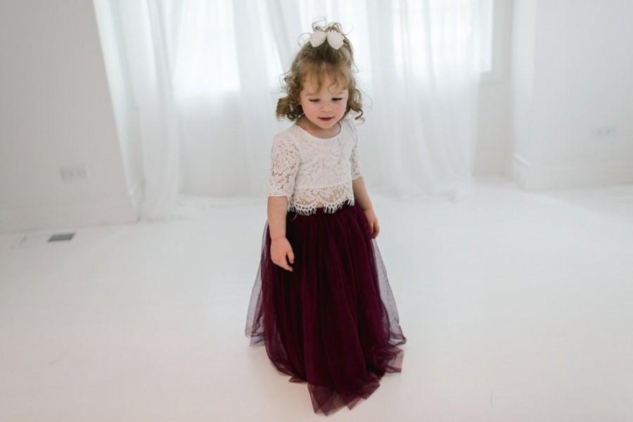 زفاف - Burgundy Tulle High Waist Tutu Skirt, White Lace Flower Girl Dress, Boho Beach Wedding Dress