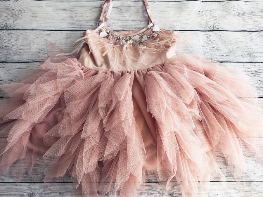 Wedding - 1er birthday. Dress, Mauve /pink flower girl dress,  Feathers top,Baby  toddler dress, flower girls dresses