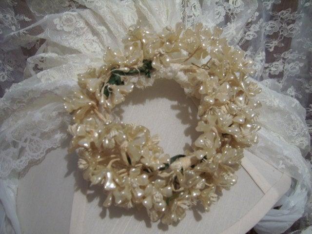 Hochzeit - Antique Vintage Wax Flower Bridal Veil Headpiece