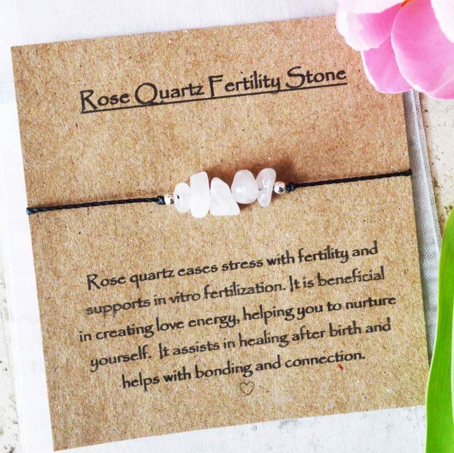Hochzeit - Fertility stone bracelet, Rose quartz fertility message card, fertility gift bracelet with message, Rose quartz Fertility bracelet with card