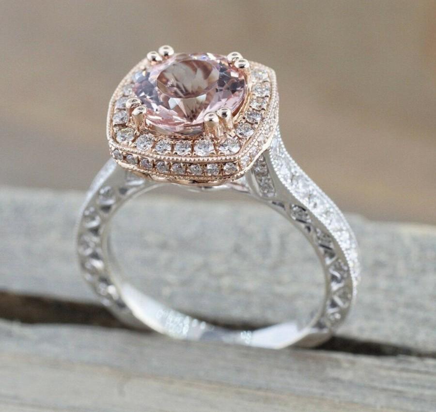 Hochzeit - Tacori Style Morganite Art Deco Engagement Ring Morganite Cz Diamond Wedding Ring Silver Pink Morganite Halo Bridal Wedding Anniversary Ring