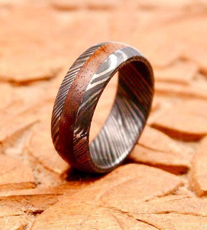 Wedding - Damascus Steel Ring Band Walnut Wood Liner Handmade Custom Width Damascus Ring Men Wedding Ring Men Engagement Ring Men Wedding Band