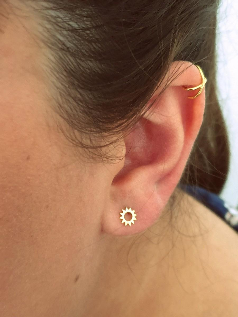 Свадьба - Dainty Sun earrings, sun studs, sun earrings, tiny earrings, minimalist, bridesmaid earrings, gold studs