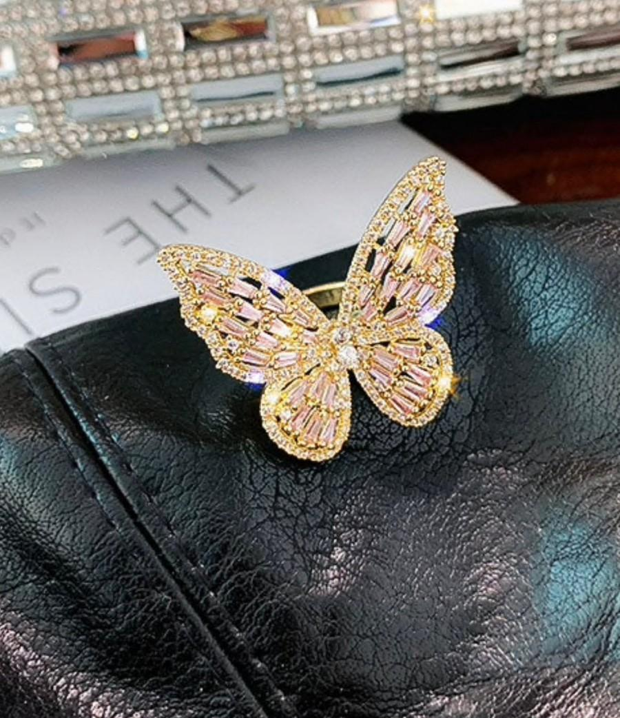 Свадьба - Luxury Crystal Adjustable Statement Butterfly Rings