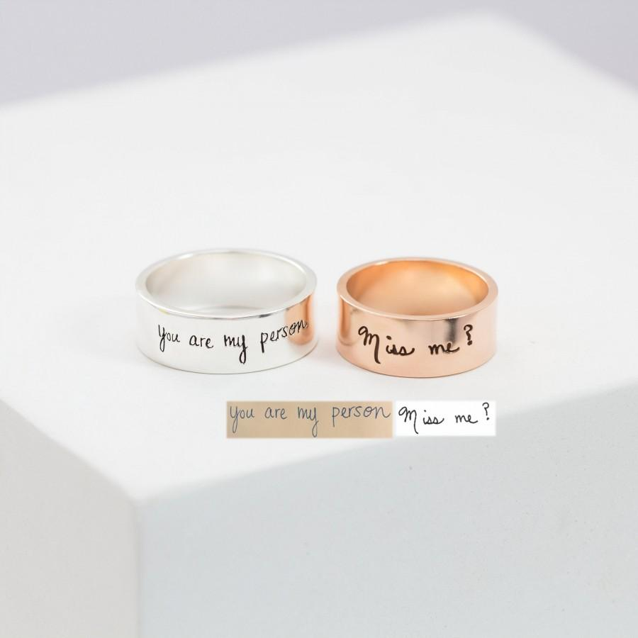 Hochzeit - Memorial Handwriting Ring • Actual Handwriting Band Ring • Eternity Ring • Wedding Band • Unisex Ring • Personalized Handwriting Gift • RM23
