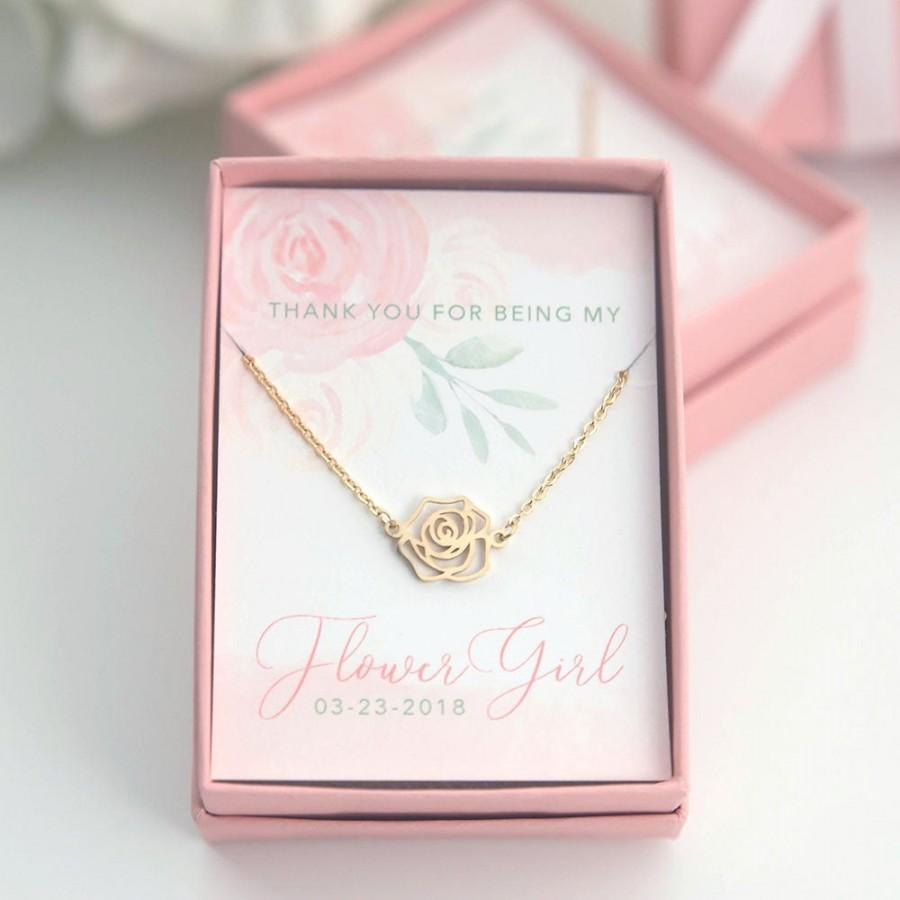 Свадьба - Flower Girl Rose Necklace -  CUSTOM Name Thank You for Being My Flower Girl Gift Gold Silver Rose Gold Plated - Boxed Necklace - J-NE07G