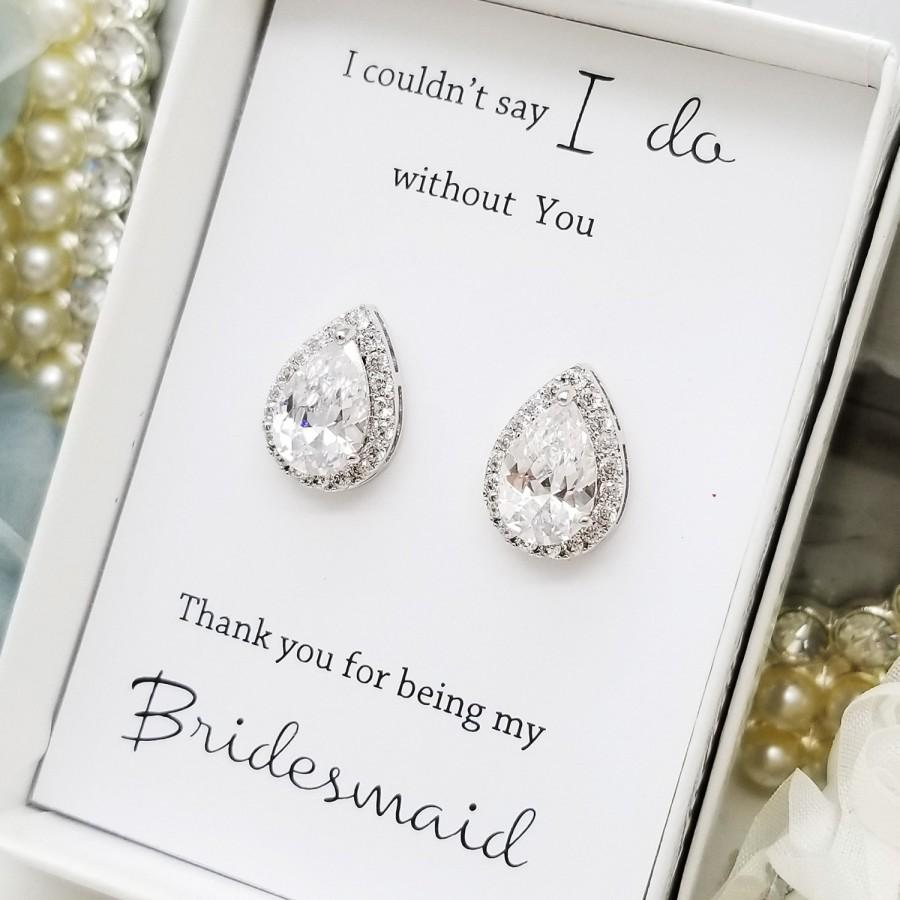 Свадьба - Wedding Big Teardrop Bridesmaid CZ Earrings ,Silver, Bridesmaid earrings Gift