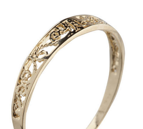 زفاف - Vintage Filigree Wedding Band For Women, 14K Gold Filigree Ring, Thin Gold Ring, Dainty Ring, Unique Lace Wedding Band, Minimalist Lace Ring