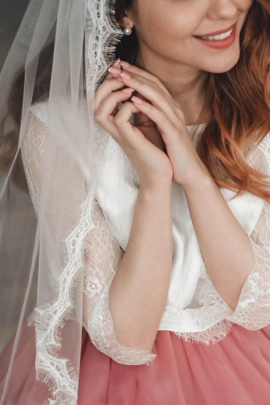 Mariage - Lace eyelash veil, Wedding veil, Bridal veil, Lace veil, Veil wedding, Veil with lace