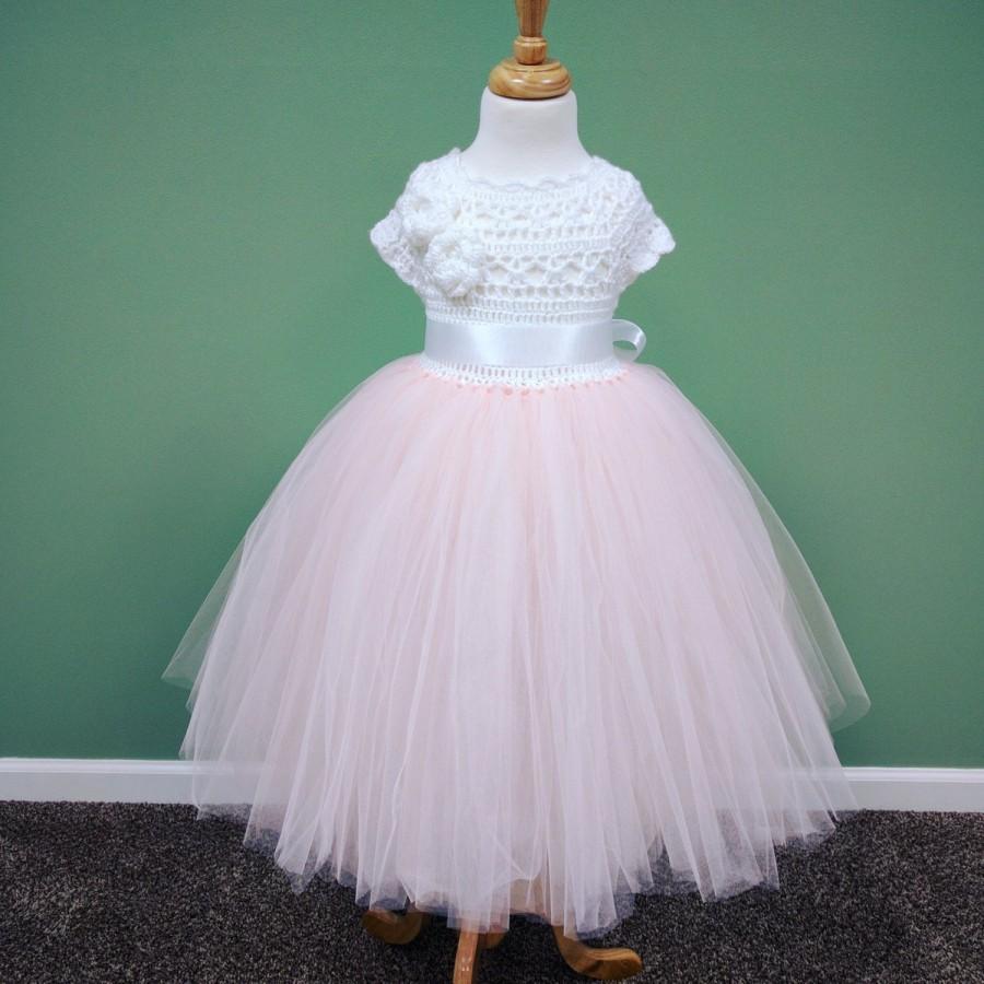 Wedding - Blush Pink Tutu Dress/Blush Flower Girl Tutu Dress/Toddler Tutu Dress/Birthday Tutu Dress/Princess Tutu Dress/Long Tutu Dress