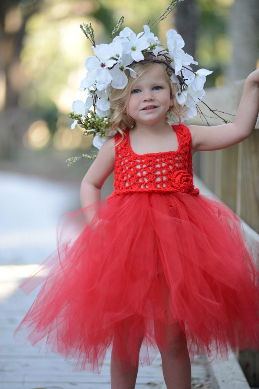 Wedding - Red Flower Girl Dress/Red Tutu Dress/Red Toddler Tutu Dress/Red Princess Tutu Dress/Red Birthday Tutu Dress/Red Long Tutu Dress