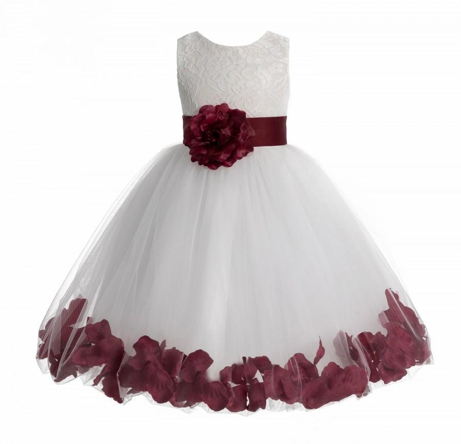 Свадьба - Heart Shaped Cutout Ivory Flower Girl Dress, Floral Petals Dress, Ivory Lace Dress, Communion Dress, Recital Dress, Wedding Flower Dress