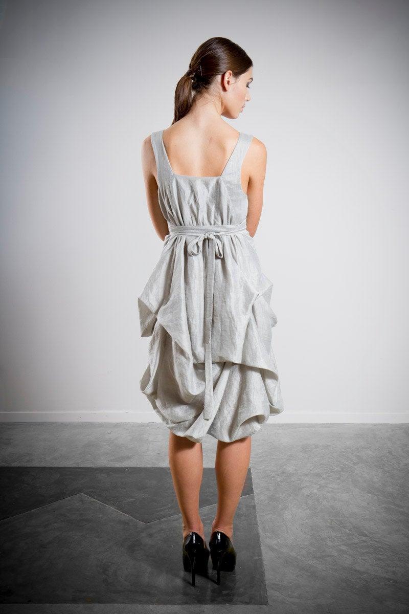 Hochzeit - Silver Bridesmaid Dress, Grey Bridesmaid Dress, Sleeveless Dress, Knee Length, Draped Grecian Dress, Party Dress Short Dress, Casual Wedding
