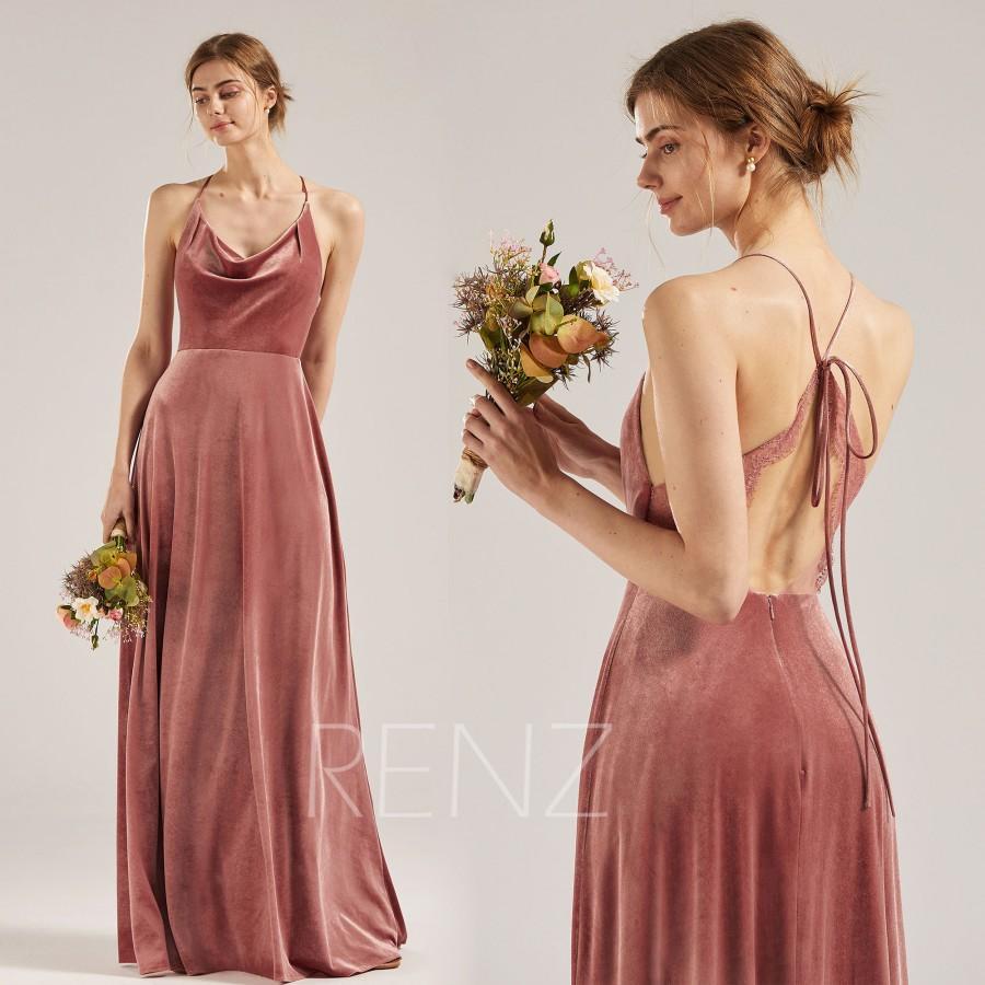 Hochzeit - Bridesmaid Dress Dusty Rose Velvet Dress for Women Cowl Neck Long Dress Halter Criss Cross Strap Fitted A-line Lace Wedding Dress (RV002)