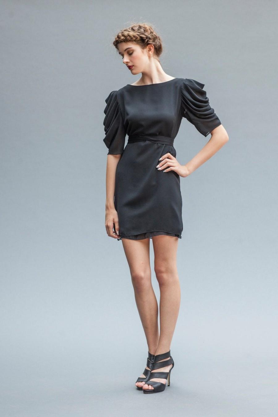 Свадьба - Black Tulip Sleeve Dress,  Party Dress, LBD, Little Black Dress, Mini Dress, Alternative Bridal, Evening Wear, Cocktail dress, Draped Dress