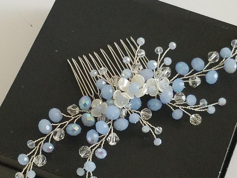 Свадьба - Dusty Blue Hair Comb, Bridal Blue Silver Headpiece, Light Blue Hair Piece, Wedding Blue Headpiece, Bridal Hair Jewelry Blue Hair Accessories