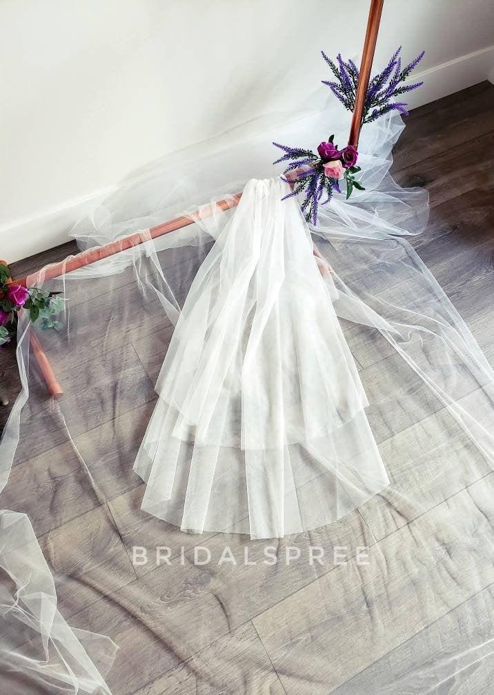 Hochzeit - SOFT Fingertip Veil with Blusher (2 Tier)