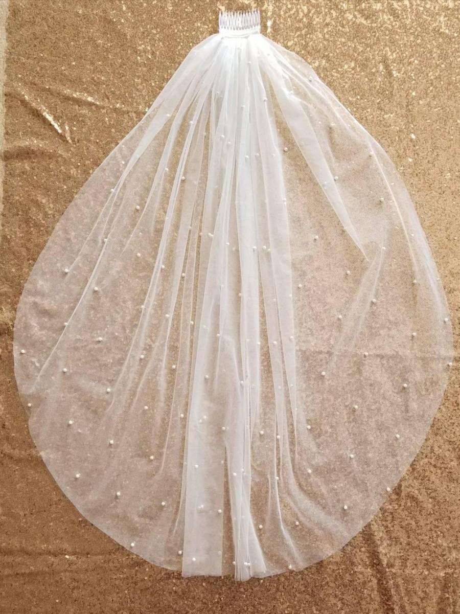 Hochzeit - wedding veil with pearls/ pearl beaded wedding veil / white wedding veil/ one tier wedding veil/ fingertip wedding veil / vintage style veil